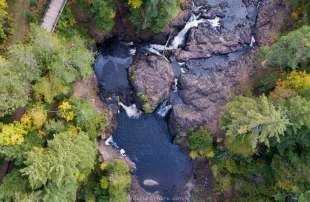 Drone view of Copper Falls, Wisconsin