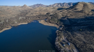 Patagonia Lake State Park drone view, east end of lake