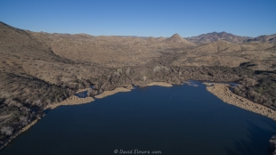 Patagonia Lake State Park drone view, facing east