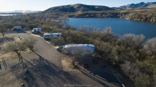 Patagonia Lake State Park drone view of campsites