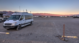 Vanessa at sunset in Stovepipe Wells campground, Death Valley National Park