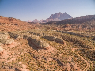 Drone views near but outside Zion National Park, Utah, along Kolob Terrace Road