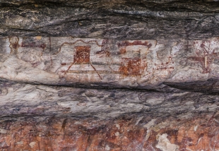 Pictographs in Fate Bell Rockshelter, Guided tour, Seminole Canyon State Park, Texas