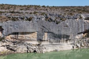 Desert varnish wall along Canyon Rim Trail, Seminole Canyon State Park, Texas
