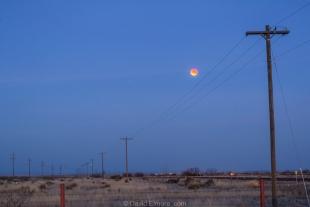 Total Super Blue Blood-red Lunar Eclipse at first sunrise light, Marfa, Texas