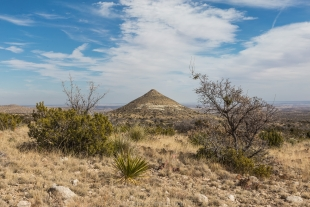 Nipple Hill and sky viewed from Smith Spring Trail, Guadalupe Mountains National Park, Texas