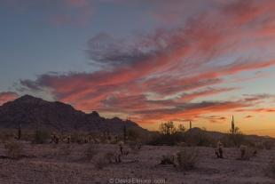 Sunset over Livingston Hills, Crystal Hill area, Kofa National Wildlife Refuge, Arizona