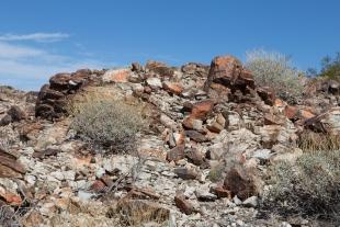 Colorful rocks near the top, Crystal Hill area, Kofa National Wildlife Refuge, Arizona