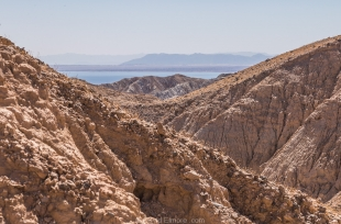 First view of Salton Sea along side canyon trail, Mecca Hills Wilderness, Box Canyon Road, California
