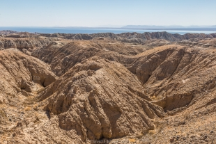View of Salton Sea from the mesa top, Mecca Hills Wilderness, Box Canyon Road, California