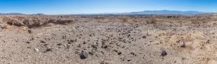 Panorama of mesa top and Salton Sea, Mecca Hills Wilderness, Box Canyon Road, California