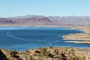 Power boat on Alamo Lake, Arizona