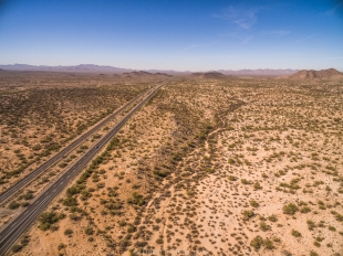 Drone view facing west along interstate 8 near Maricopa, Arizona