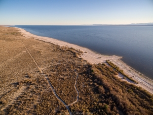 Drone view looking south towards Mecca Beach Campground, Salton Sea SRA, Mecca, California