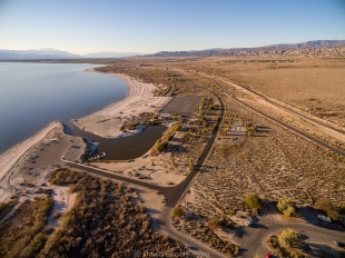 Drone view of Headquarters and Varner Harbor, Salton Sea SRA, Mecca, California
