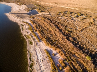 Drone view of Varner harbor, New Camp, and beach, Salton Sea SRA, Mecca, California