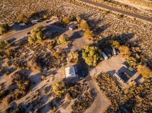 Drone view of New Camp and Vanessa (top center), Salton Sea SRA, Mecca, California