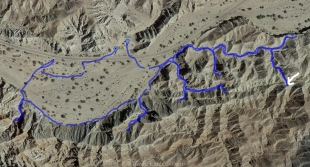 Track of our hike on Google Earth map with outlook identified, Mecca Hills Wilderness, Box Canyon Road, California
