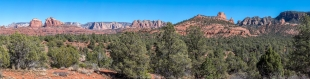 Mountain view panorama viewed from Coyote Ridge Trail, Red Rock State Park, Sedona, Arizona