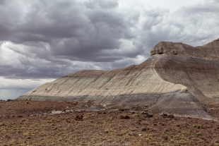 Storm over Marthas Butte near Crystal Forest, Petrified Forest National Park, Arizona