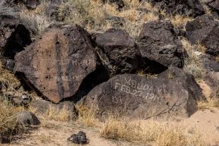 Modern rock carvings, Rinconada Canyon Trail, Petroglyph National Monument, Albuquerque, New Mexico
