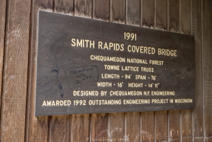 Sign on Covered Bridge, Smith Rapids near Park Falls, Wisconsin