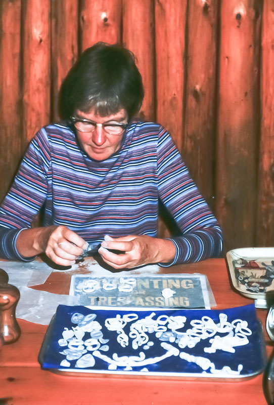 Barbara making jewelry - October 1975