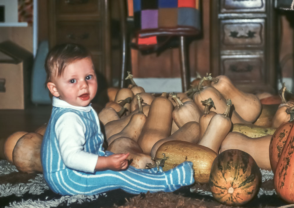 Andrew with Butternut harvest from Island - November 1975