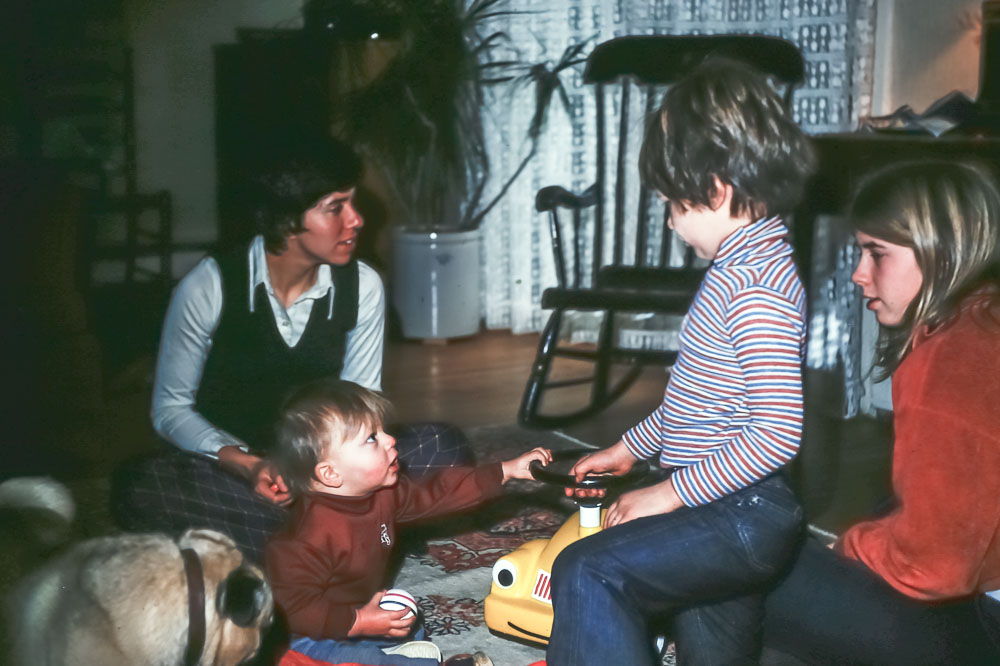 Christmas 1975 - Paxon Hollow Road- Rick, Page, Andrew, Janet, Max