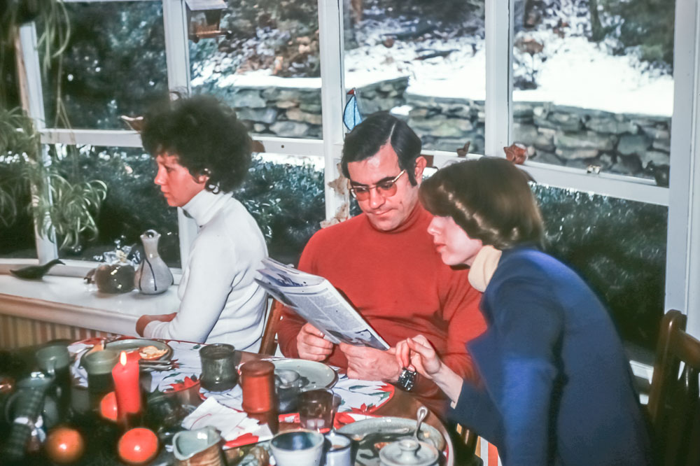 Christmas 1975 - John, Liz, Mary - Paxon Hollow Road