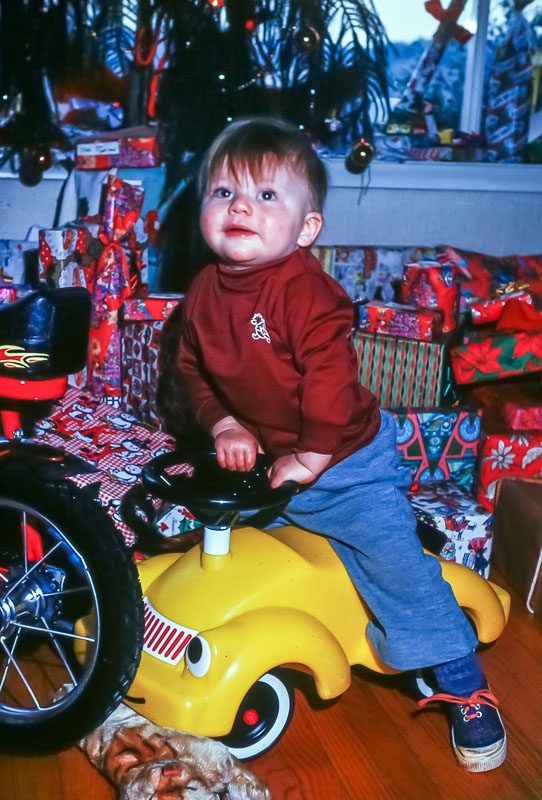 Andrew with little car - December 1975