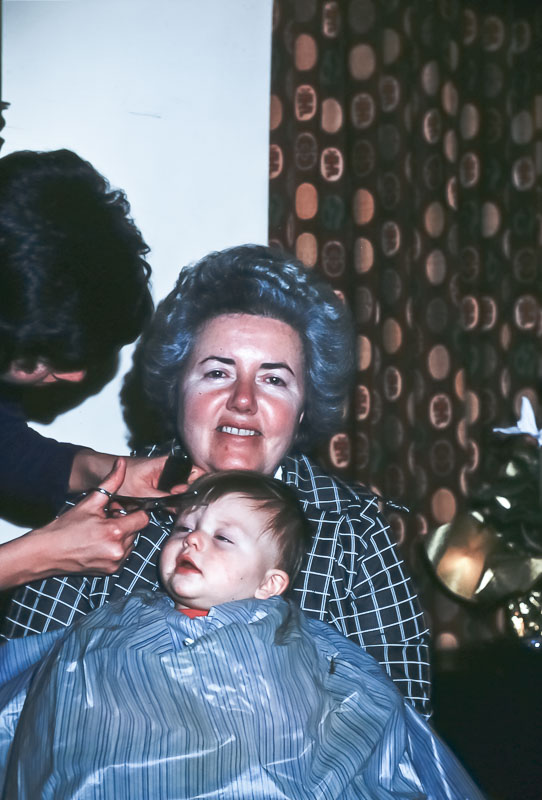 Andrew and Mama Dot - 1st haircut - December 1975