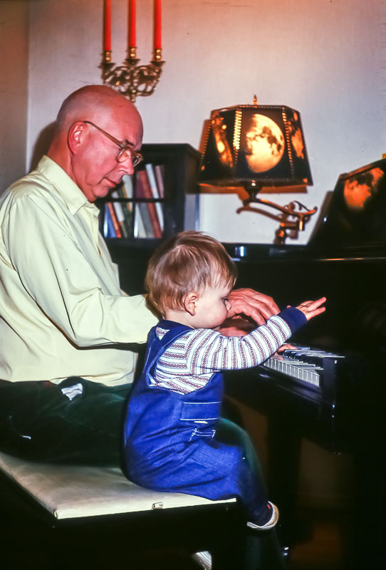 Piano lesson with Grampa Bill - December 1975