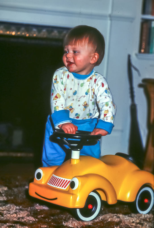 Andrew with first car - January 1976