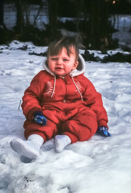 "Andrew in ""Elmore snow suit"" - March 1976"