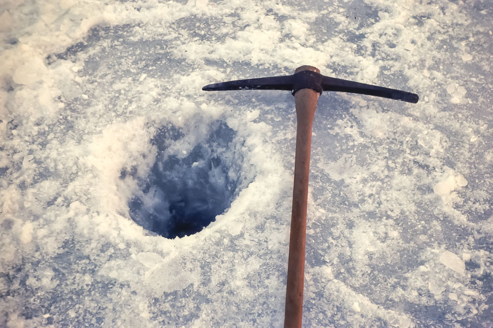 Ice hole at Sand Lake - March 1976