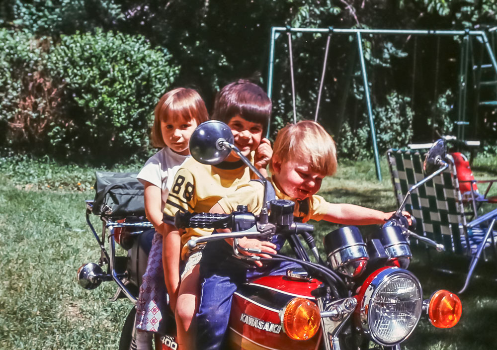 Driving David's motorcycle - Andrew, Scott, Lisa - June 1976
