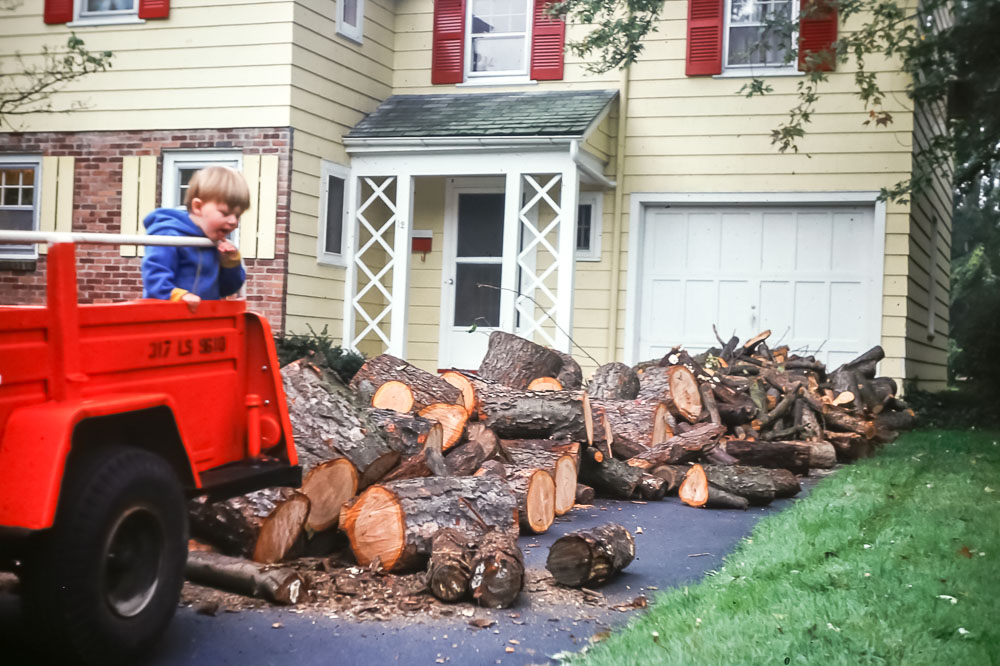 Andrew helping with wood delivery - November 1976
