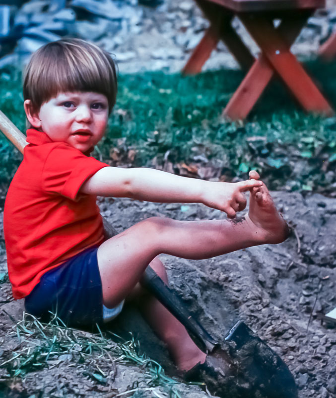 Andrew digging sandbox - April 1977