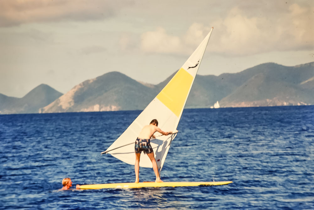 Margie and David wind surfing - February 1978