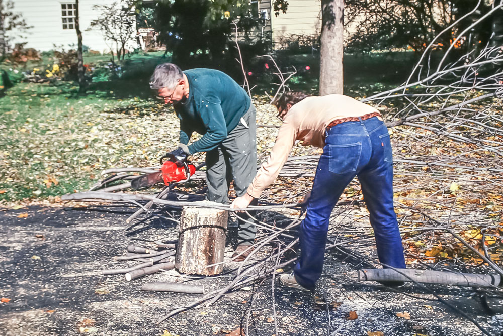 Grampa Ed and Gene cut down a tree at 550 Rutgers - December 1979