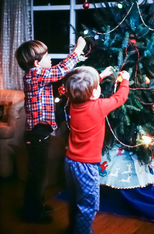 Decorating the Paxon Hollow tree 1979
