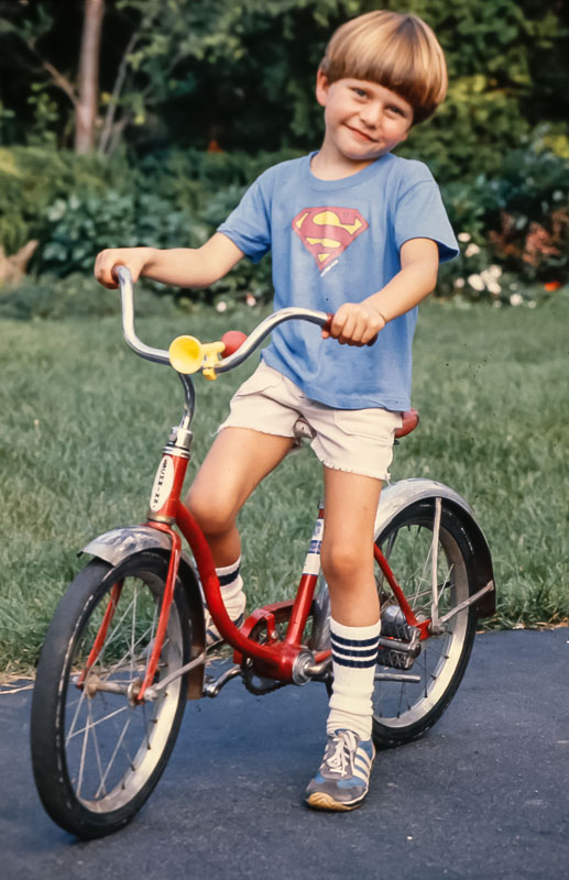 Andrew sheds the training wheels - August 1980