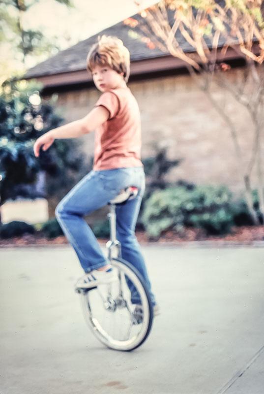 Rick on unicycle - November 1980