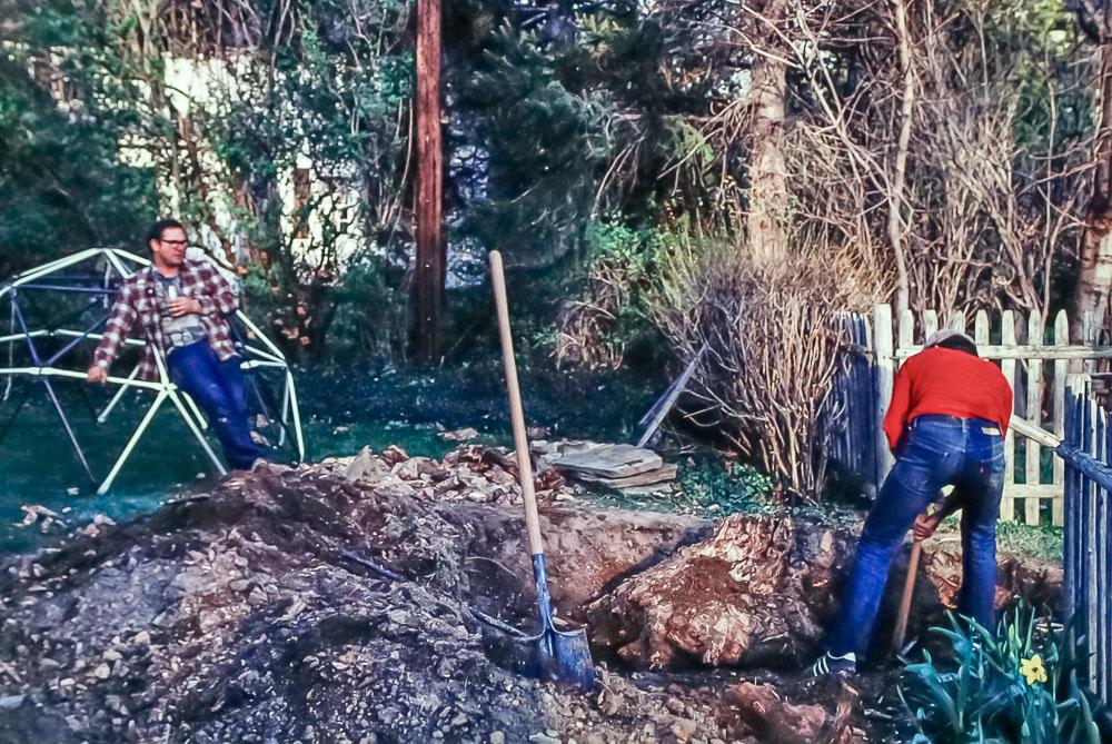 Removing stump at Pickford - Chuck and Charlie -  May 1981