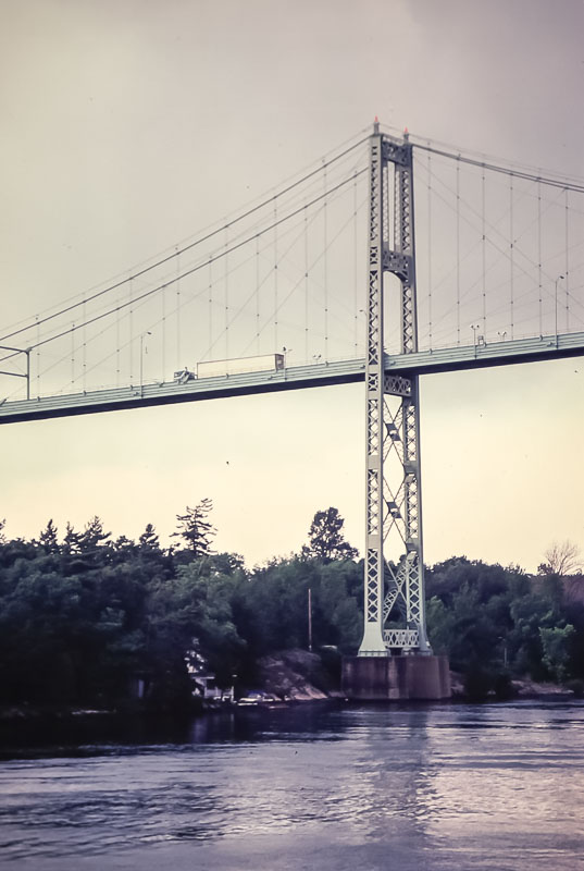 1981  View of .thousand Island Bridge from St Lawrence tour boat