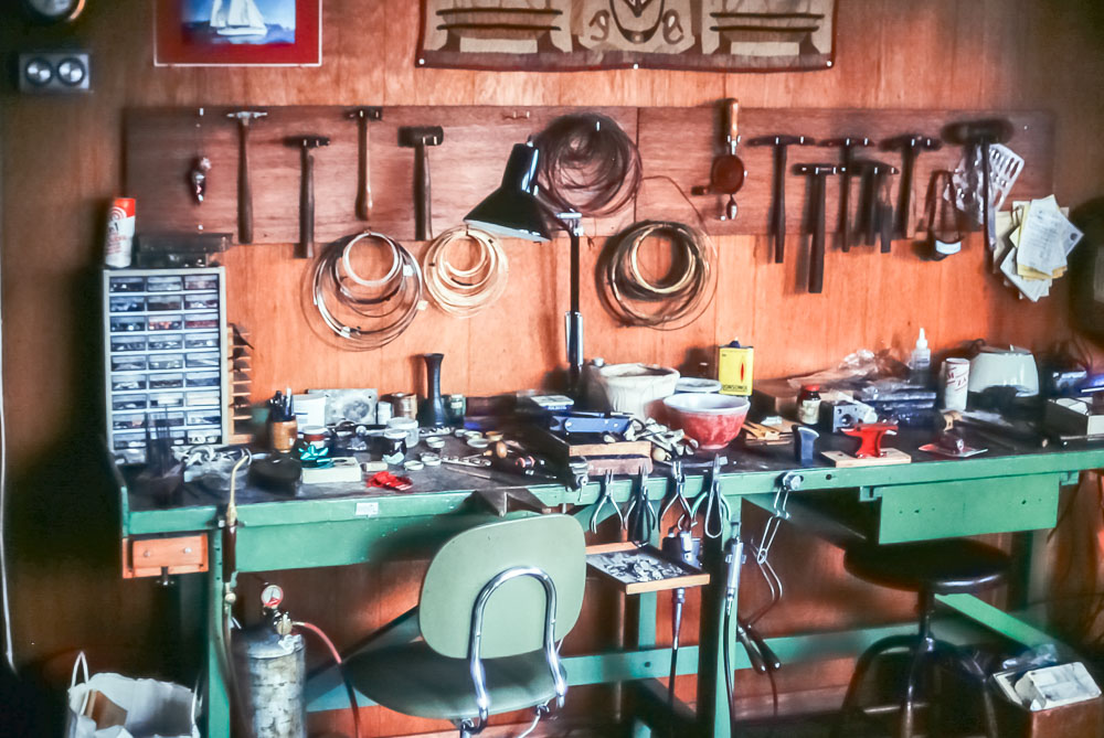 Barbara's jewelry work bench - December 1982