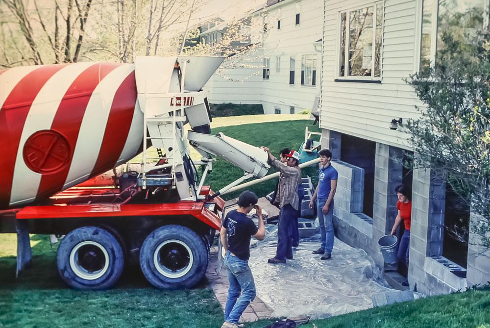 Pouring new basement floor - April 1983