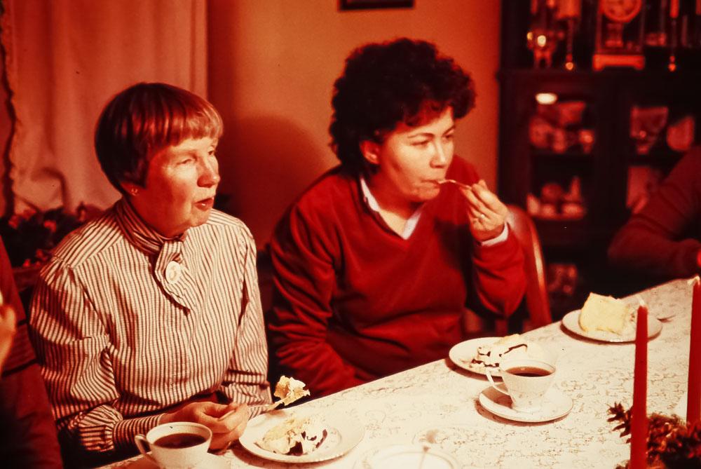 Barbara and Fla celebrate Andrew's birthday - December 1984