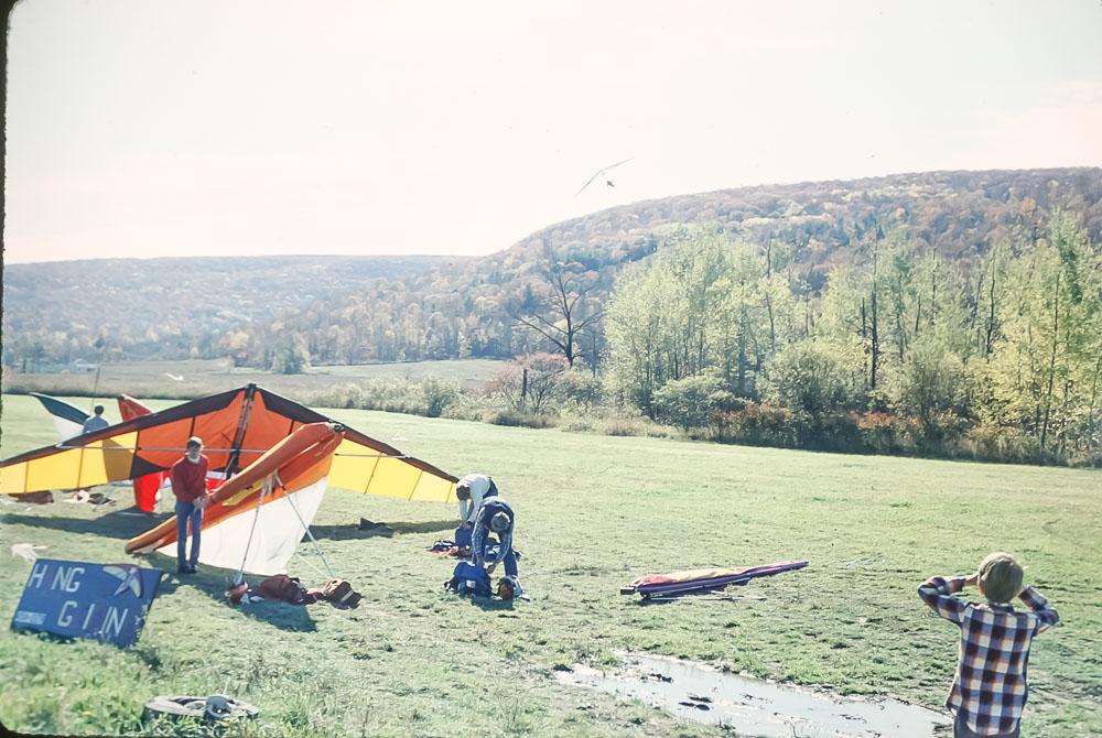 Hang gliders at Bristol Mountain - October 1985